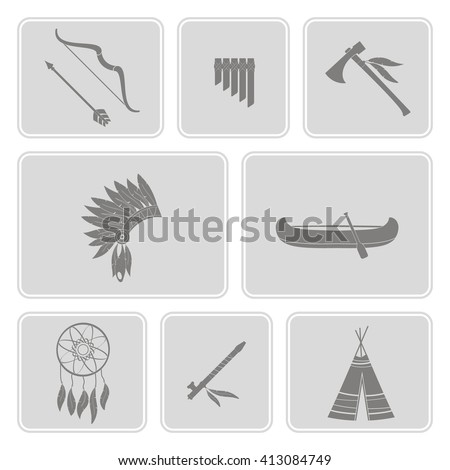 monochrome  set with american indian icons for your design - stock vector