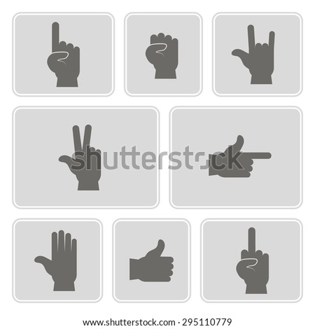 monochrome  set  with hands and finger icons for your design