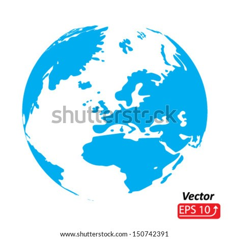 monochrome silhouette blue planet earth, abstract inkblot , globe, world map isolated on white background vector - stock vector