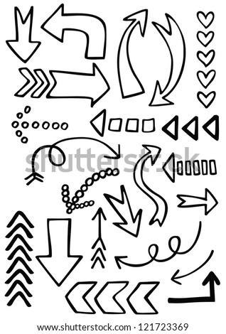 monochrome sketchy black border arrow set - stock vector