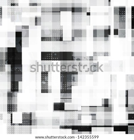 monochrome squares seamless pattern with grunge effect - stock vector