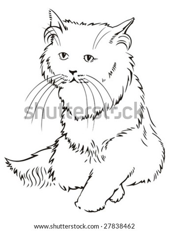 Monochrome stylized vector image of a sitting cat.