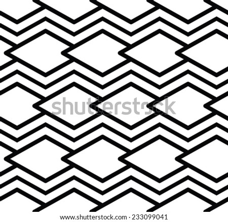 Monochrome symmetric seamless pattern with lines, black and white infinite geometric textile. - stock vector