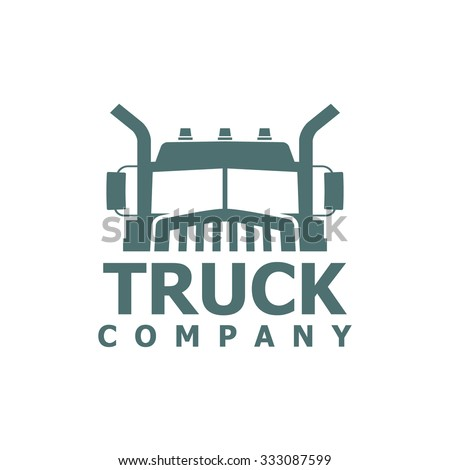 monochrome truck vector logo for delivery company - stock vector