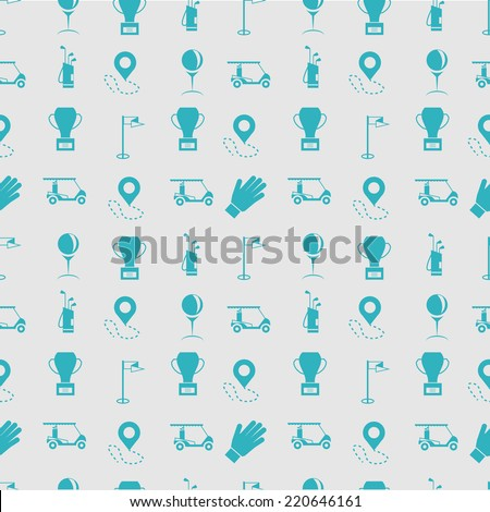 Monochrome vector background for golf. Seamless vector pattern with blue silhouette equipment for golf on gray background. - stock vector