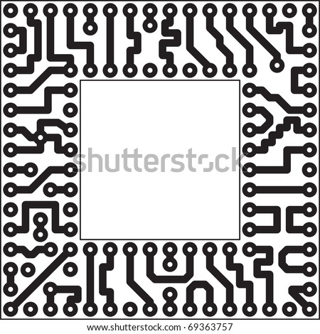 Monochrome vector electronic board - square slot - stock vector