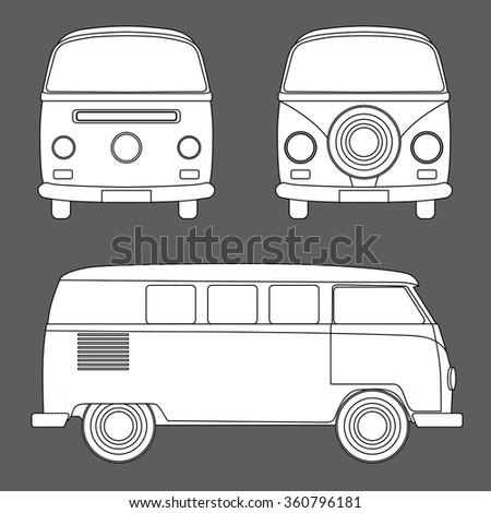 Monochrome Vector illustration of a retro travel van
