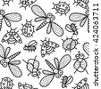 Monochrome vector seamless pattern with funny ladybugs, dragonflies, flies, insects. - stock vector