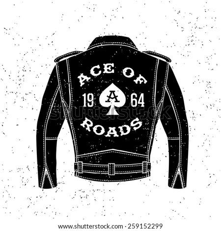 """monochrome vintage biker label , badge , logo  """" Ace Of Roads """" for hipster poster or t-shirt print with black motorcycle jacket, ace of spades - stock vector"""