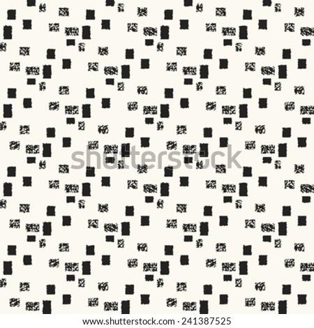 Monochrome  vintage noisy textured block background. Seamless pattern. Vector. - stock vector