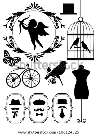monochrome vintage objects collection. vector illustration - stock vector