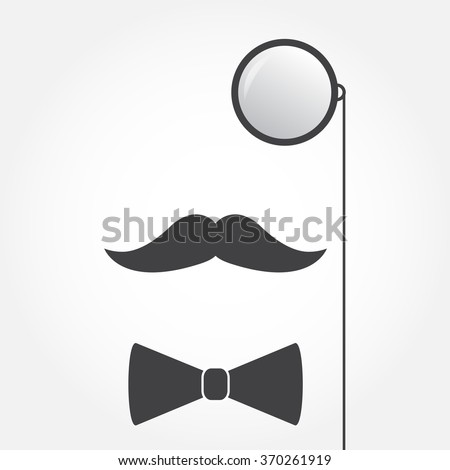 Monocle or eyeglasses, mustache and bow tie. Old fashioned gentleman accessories icon. Vintage or hipster style. Vector illustration. - stock vector