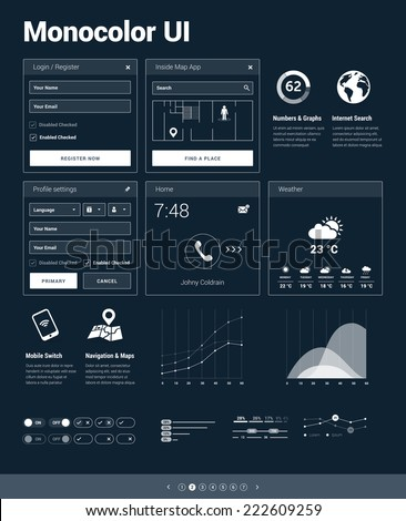 Monocolor UI kit - set of user interface design elements for responsive mobile websites / apps with set of icons and infographics - stock vector