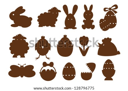 Monocrom easter icons. - stock vector