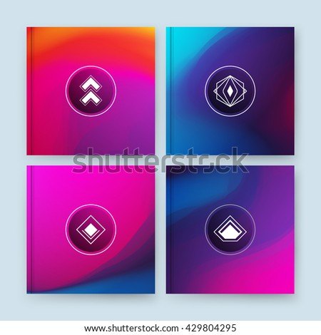 Monogram banner form. Bright a4 brochure title sheet set. Creative figure icon. Abstract composition. Rainbow color editable texture. Patch blue, pink multicolor construction. Light logo surface flyer - stock vector