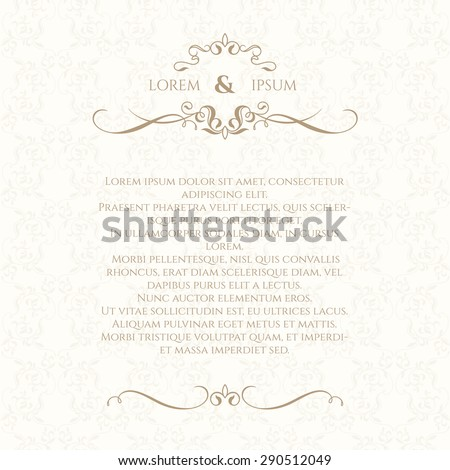 Monogram, border and classic seamless pattern. Template for greeting cards, invitations, menus, labels. Graphic design page. Wedding invitation. - stock vector