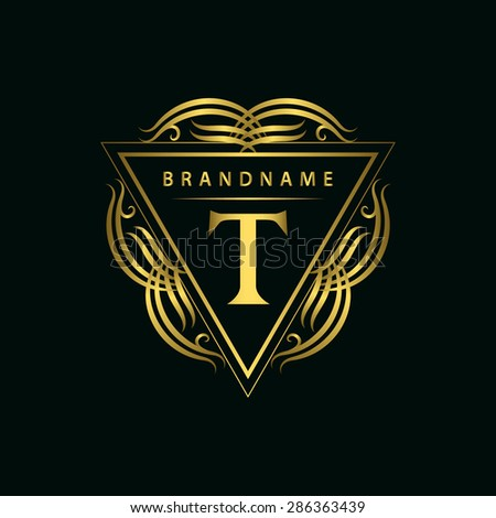 Monogram design elements, graceful template. Calligraphic elegant line art logo design. Gold emblem, T. Business sign for Royalty, Boutique, Cafe, Hotel, Heraldic, Jewelry, Wine. Vector illustration - stock vector