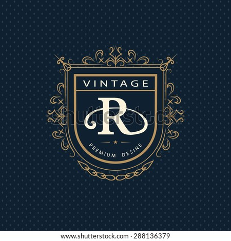 Monogram design elements, graceful template. Calligraphic elegant line art logo design. Letter emblem R. Business sign for Royalty, Boutique, Cafe, Hotel, Heraldic, Jewelry, Wine. Vector illustration - stock vector