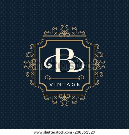 Monogram design elements, graceful template. Calligraphic elegant line art logo design. Letter emblem B. Business sign for Royalty, Boutique, Cafe, Hotel, Heraldic, Jewelry, Wine. Vector illustration - stock vector