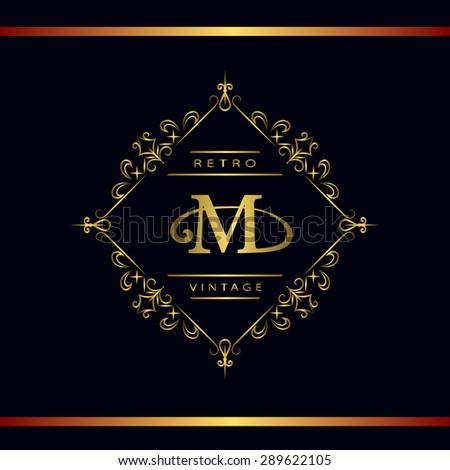 Monogram design elements, graceful template. Calligraphic elegant line art logo design. Letter emblem M. Business sign for Royalty, Boutique, Cafe, Hotel, Heraldic, Jewelry, Wine. Vector illustration - stock vector