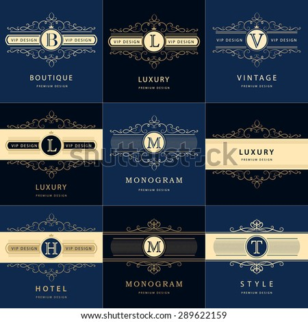 Monogram design elements, graceful template. Calligraphic elegant line art logo design. Letter emblem. Business sign for Royalty, Boutique, Cafe, Hotel, Heraldic, Jewelry, Wine. Vector illustration - stock vector