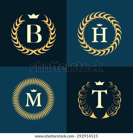 Monogram design elements, graceful template. Calligraphic elegant line art logo design. Letter emblem B, H, M, T for Royalty, business card, Boutique, Hotel, Heraldic, Jewelry. Vector illustration - stock vector