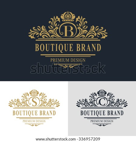 Monogram design elements, graceful template. Calligraphic elegant line art logo design. Letter emblem sign B, S, C for Royalty, business card, Boutique, Hotel, Heraldic, Jewelry. Vector illustration - stock vector