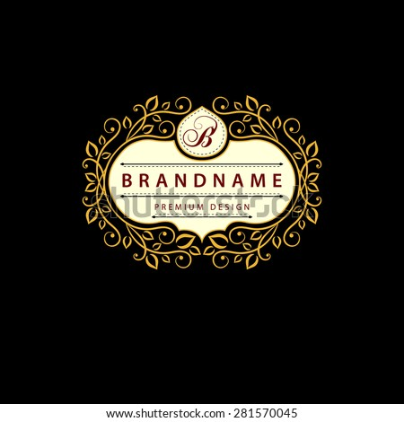 Monogram design elements, graceful template. Calligraphic elegant line art logo design. Letter B. Business sign for Royalty, Boutique, Cafe, Hotel, Heraldic, Jewelry, Wine. Vector illustration - stock vector