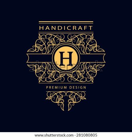 Monogram design elements, graceful template. Calligraphic elegant line art logo design. Letter H. Business sign for Royalty, Boutique, Cafe, Hotel, Heraldic, Jewelry, Wine. Vector illustration - stock vector
