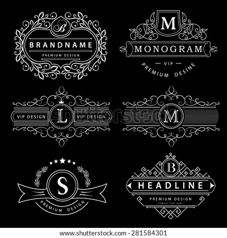 Monogram design elements, graceful template. Calligraphic elegant line art logo design. Letter M, L, B. Business sign for Royalty, Boutique, Cafe, Hotel, Heraldic, Jewelry, Wine. Vector illustration - stock vector