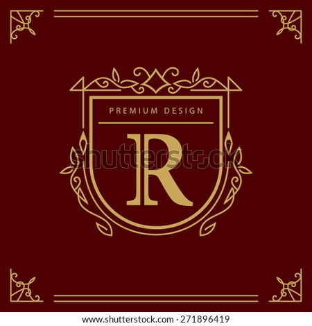 Monogram design elements, graceful template. Elegant line art logo design. Business sign, identity for Restaurant, Royalty, Boutique, Cafe, Hotel, Heraldic, Jewelry, Fashion, Wine. Vector illustration - stock vector