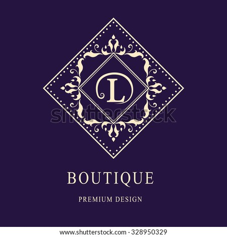 Monogram design elements, graceful template. Elegant line art logo design. Letter emblem L. Retro Vintage Insignia or Logotype. Business sign, identity, label, badge, Cafe, Hotel. Vector illustration - stock vector
