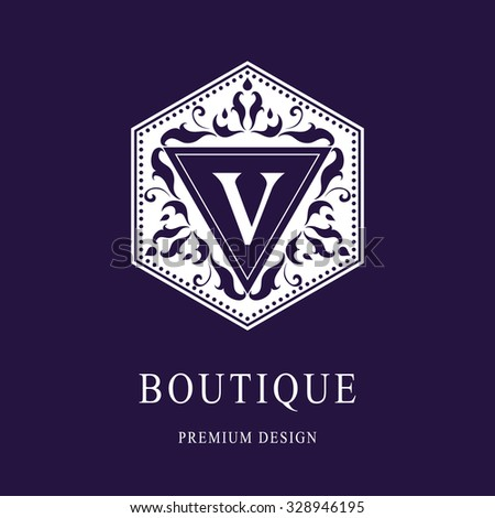 Monogram design elements, graceful template. Elegant line art logo design. Letter emblem V. Retro Vintage Insignia or Logotype. Business sign, identity, label, badge, Cafe, Hotel. Vector illustration - stock vector