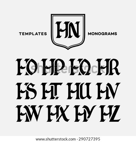 Monogram design template with combinations of capital letters HN HO HP HQ HR HS HT HU HV HW HX HY HZ. Vector illustration. - stock vector