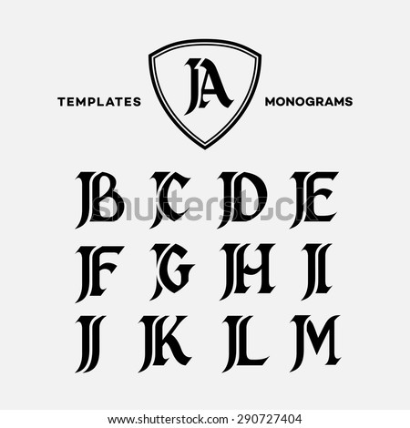 monogram design template combinations capital letters stock vector