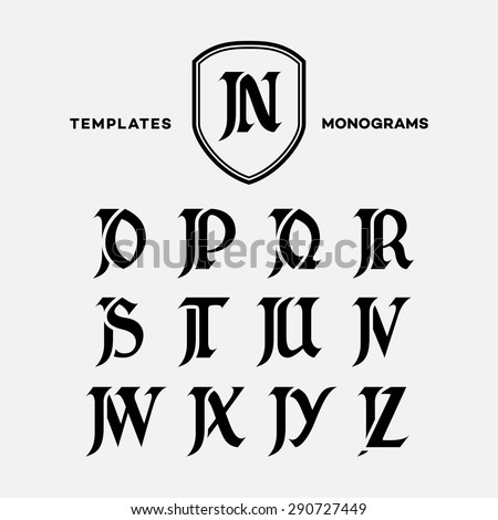 Monogram design template with combinations of capital letters JN JO JP JQ JR JS JT JU JV JW JX JY JZ. Vector illustration. - stock vector