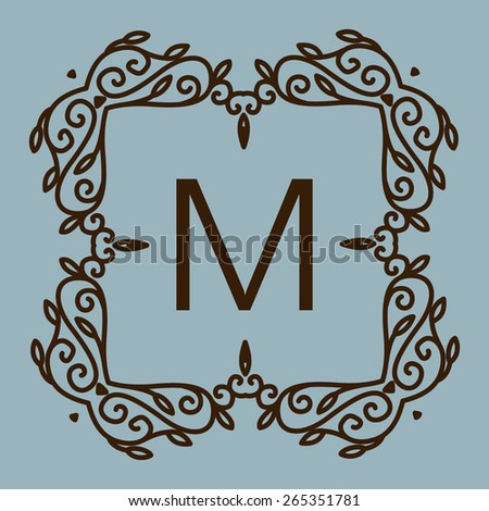 Monogram design. Vector floral outline frame or border - abstract logo  template for spa, floral shops and cosmetics - stock vector