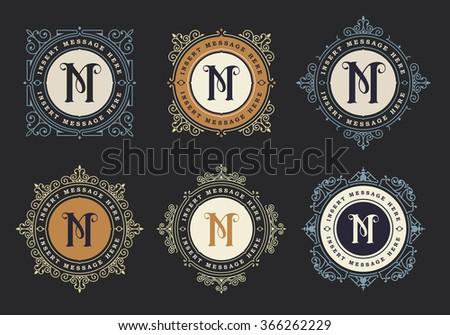 Monogram emblem insignia set. Calligraphic logo ornament vector design. Decorative frame for Restaurant Menu, Hotel, Jewellery, Fashion, Label, Sign, Banner, Badge - stock vector