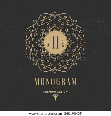 Luxury logo template elegant ornament lines stock vector for Hotel name design