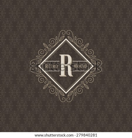 Monogram logo template with flourishes calligraphic elegant ornament elements. Identity design for boutique, cafe, hotel, heraldic, store, shop, restaurant, fashion and etc. - stock vector