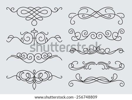 monograms menu design, calligraphic design elements. - stock vector
