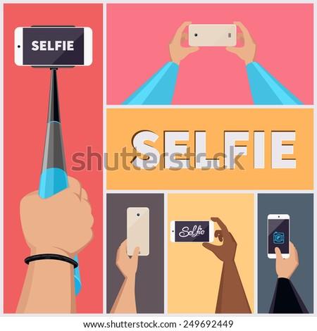 Monopod Selfie Self Portrait Tool For Smartphone. Vector Illustration set - stock vector