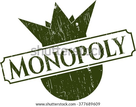 Monopoly rubber grunge stamp - stock vector