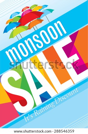 Monsoon offer and sale banner, offer or poster. - stock vector
