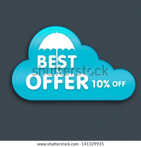 Monsoon offer and sale banner, sticker or flyer with cloud. - stock vector