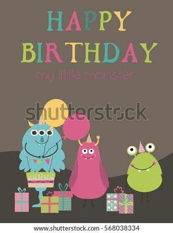 monster birthday party invitation or greeting card vector illustration - Monster Birthday Party Invitations