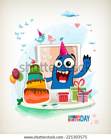 Monster Birthday Vector. Party animal - stock vector