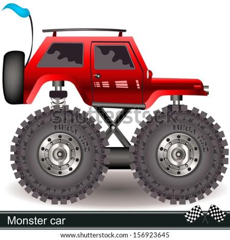 monster car - stock vector