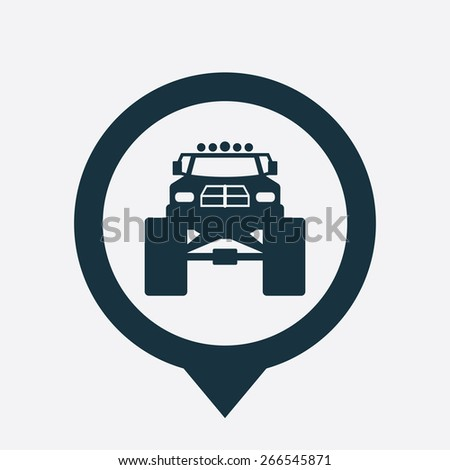 monster car icon map pin on white background  - stock vector