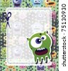 Monster card green - stock photo
